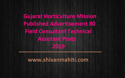 Gujarat Horticulture Mission Published Advertisement 80 Field Consultant Technical Assistant Posts 2019