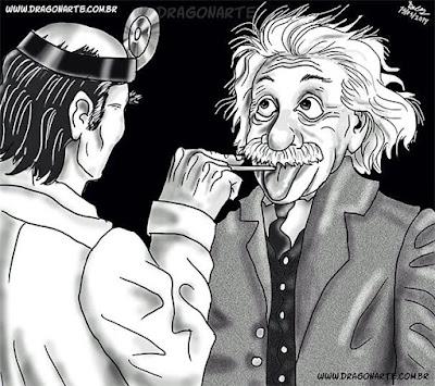Albert Einstein streckt Zunge beim Arzt heraus - Karikatur lustig