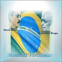 Imagem mostrando a bandeira do Brasil juntamente com as figuras de Olavo Bilac e Francisco Braga, compositores do Hino à Bandeira Nacional do Brasil.
