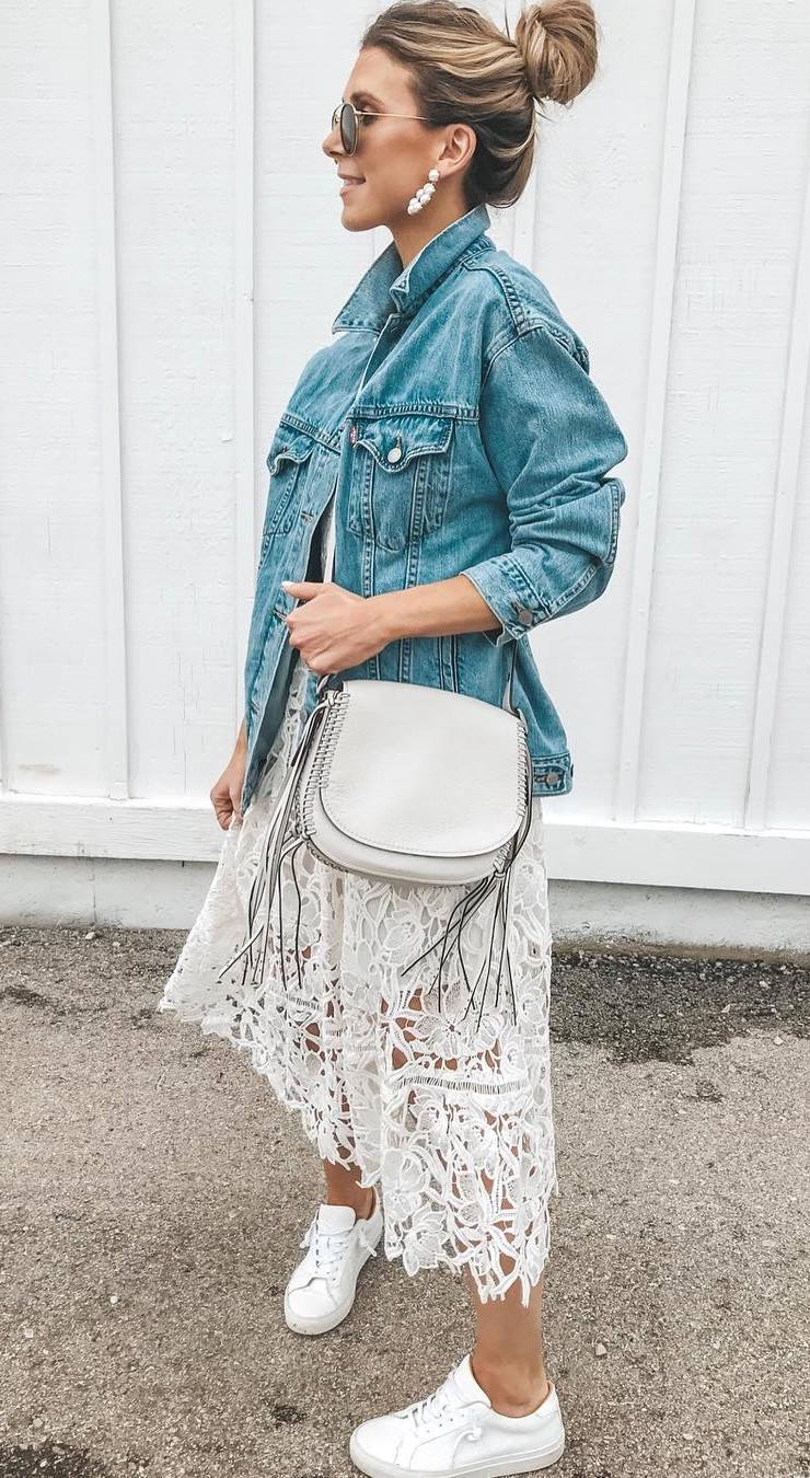 what to wear with a denim jacket : bag + lace midi dress + sneakers