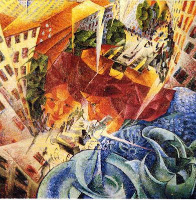 Umberto Boccioni, visioni simultanee, 1912