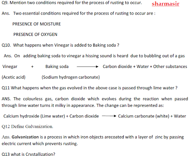 Physical and chemical change,chemistry notes for class 8,
