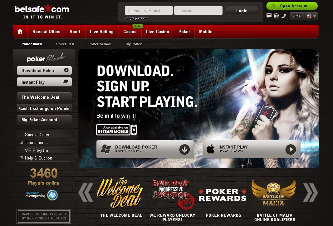 Betsafe Poker Screen