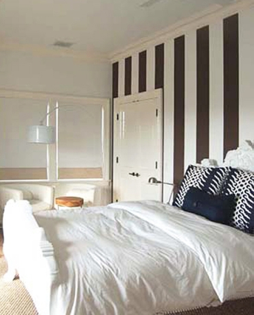 blue and white striped bedroom walls