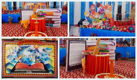 Art craft ideas and bulletin boards for elementary for Annual day stage decoration images