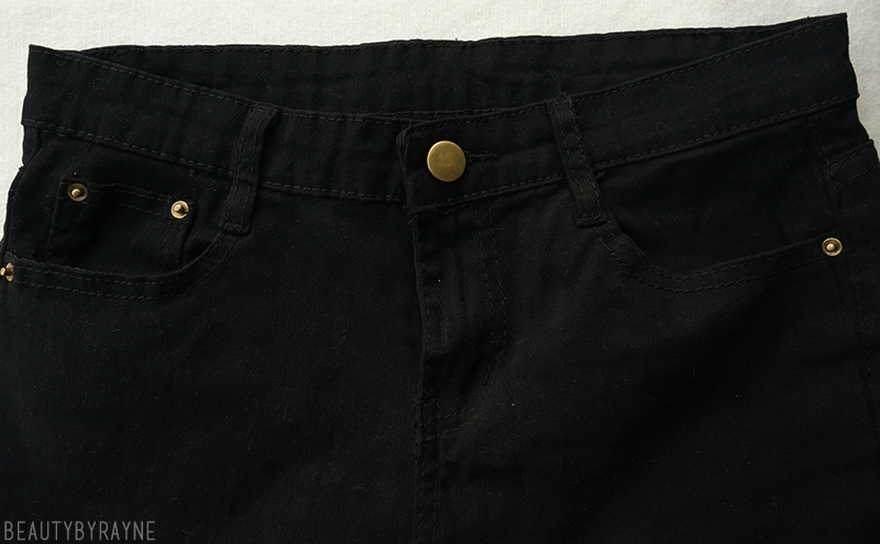Romwe Ripped Denim Slim Black Pant Review