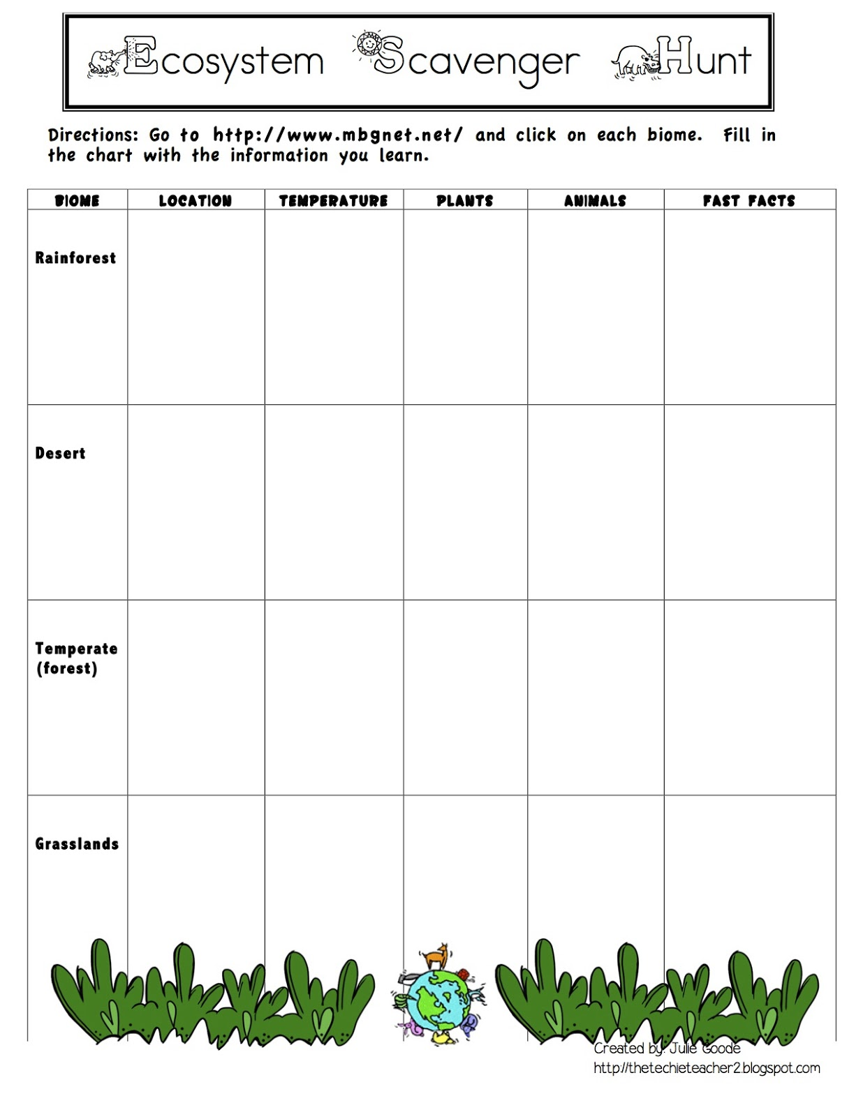 Biome Matching Worksheet Free