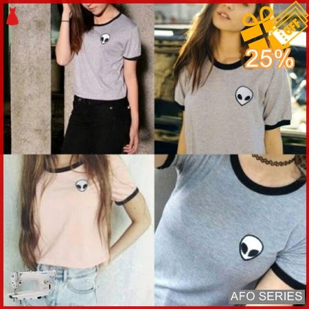AFO015 Model Fashion Alien ringertee tidak crop Modis Murah BMGShop