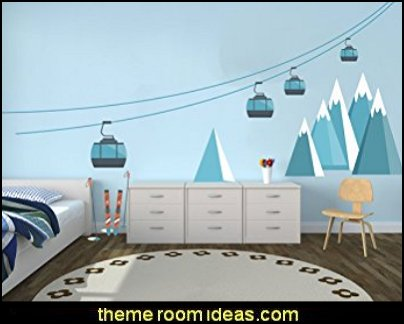 Ski Cableway Themed Wall Decal - DIY Wall Decal Vinyl Sticker Teens Room Kids Decor