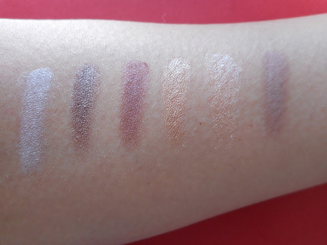 Maybelline The Burgundy Bar palette, upper row swatches (left to right)