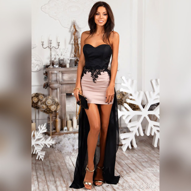 Strapless ασύμμετρο μαύρο με μπεζ φόρεμα MAYRA
