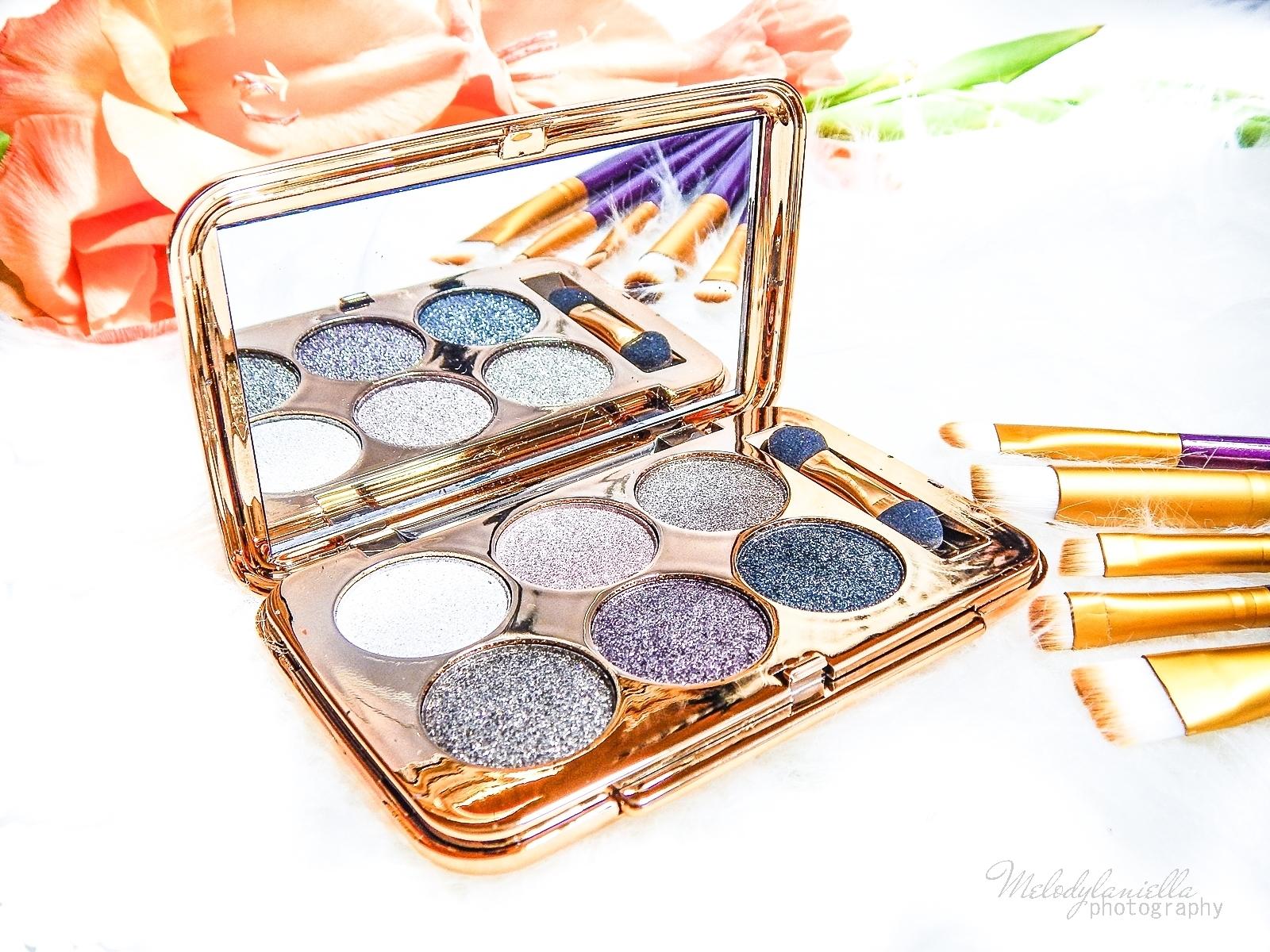 8 azjatyckie chińskie kosmetyki recenzja melodylaniella beauty paleta 6 cieni brokatowe cienie do powiek sammydress cienie do powiek ze złotem i brokatem karnawałowy makkijaż