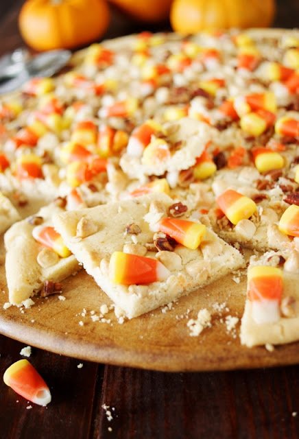 Easy Candy Corn Slab Cookies ~ a super simple-to-prepare Halloween treat!  www.thekitchenismyplayground.com