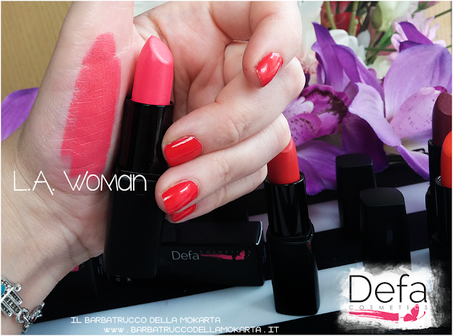 l.a . woman swatches Defa cosmetics lipstick