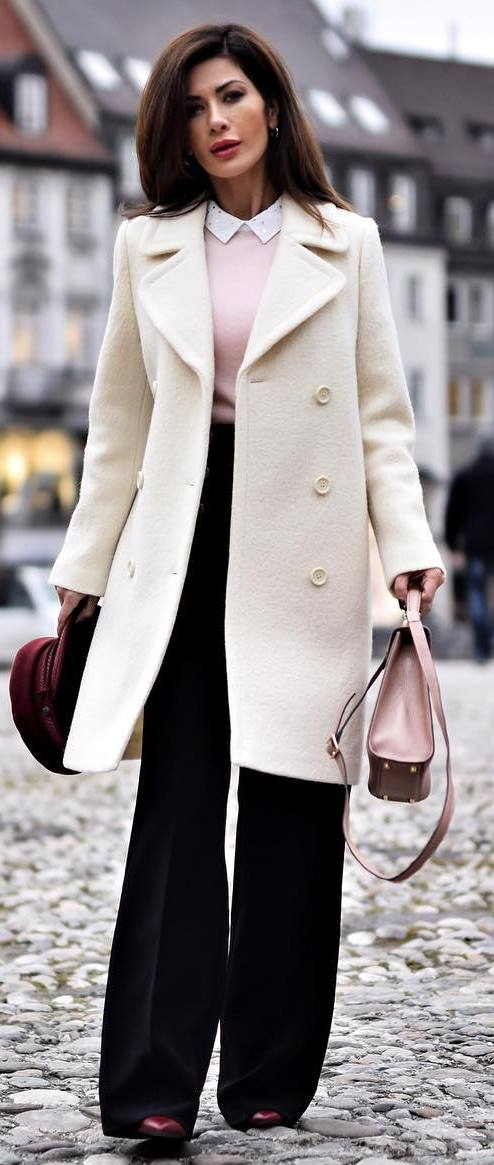 amazing outfit idea : white coat + sweater + bag + wide pants + heels
