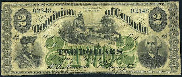 Canada 2 Dollars 1870 Lieutenant General Louis-Joseph de Montcalm and Major General James Wolfe
