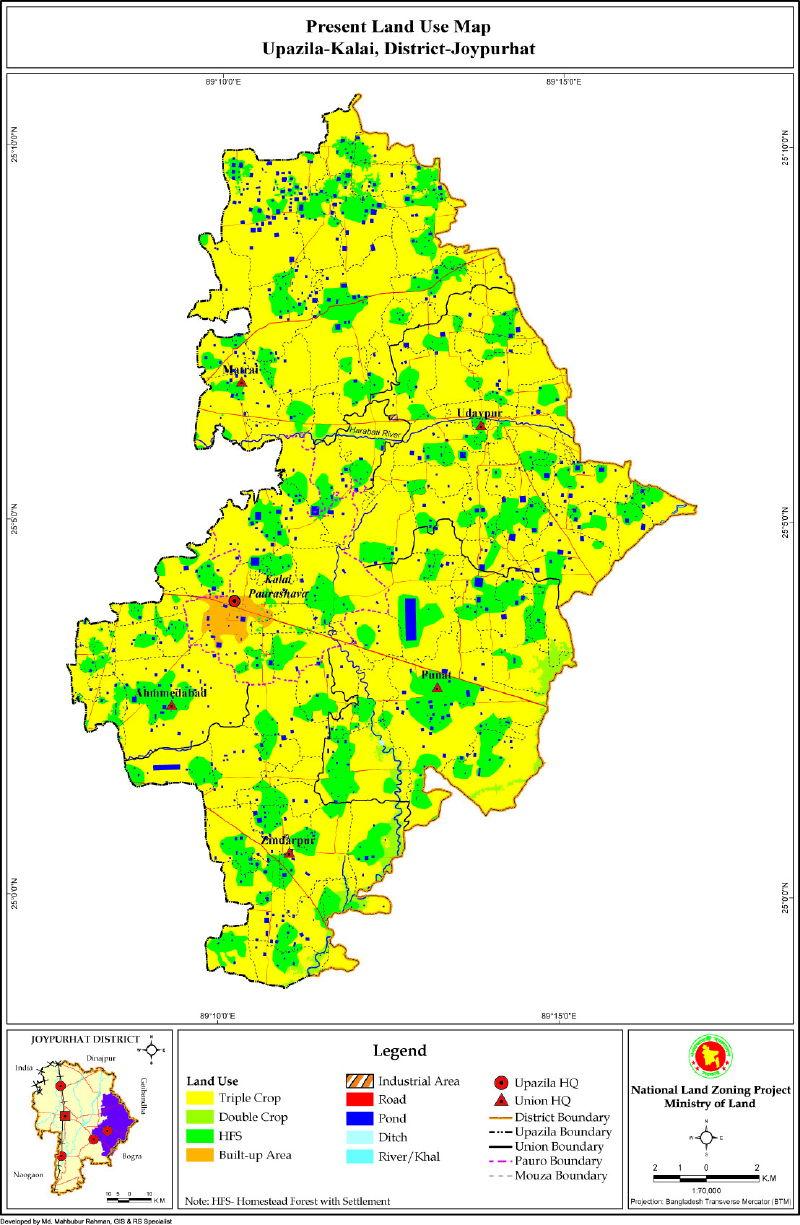 Kalai Upazila Mouza Map Joypurhat District Bangladesh