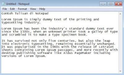 contoh teks di Notepad