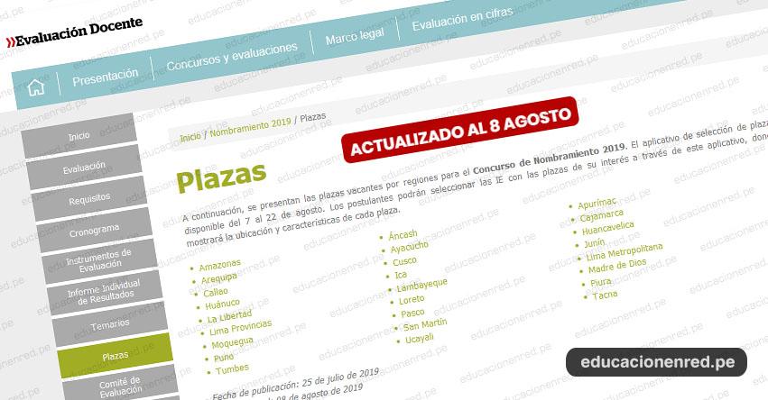 MINEDU publicó Plazas Vacantes para Nombramiento Docente 2019 (ACTUALIZADO 13 AGOSTO) www.minedu.gob.pe