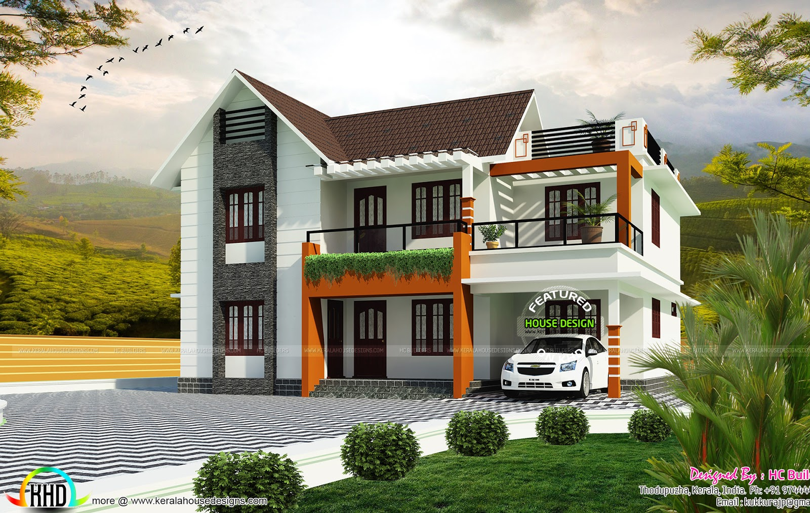 1800 Sq Ft 2 Floor House Plan Kerala Home Design And