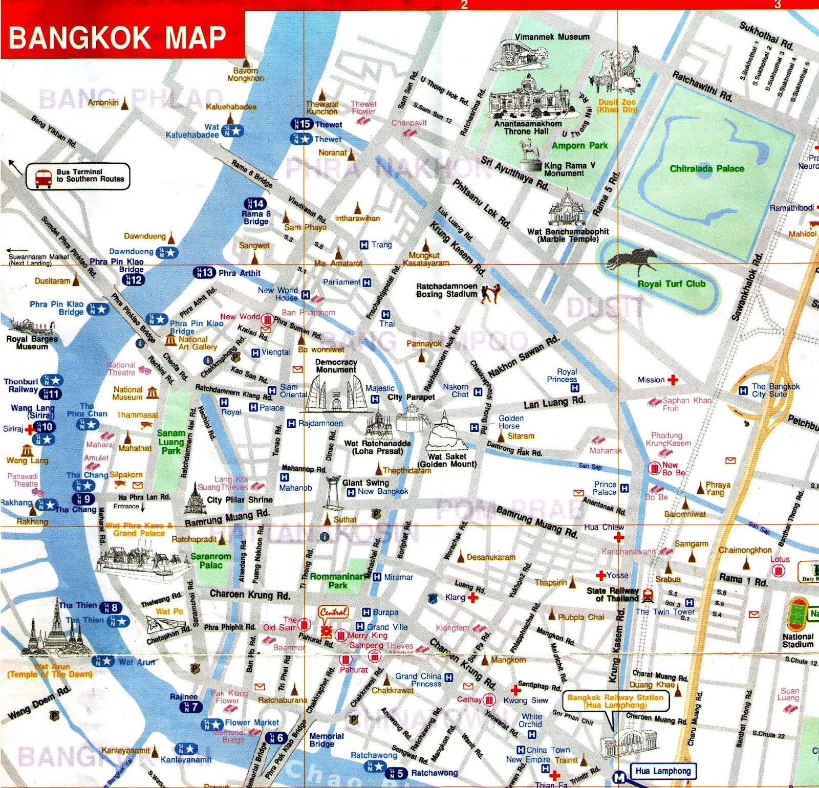 Map of Bangkok, Thailand