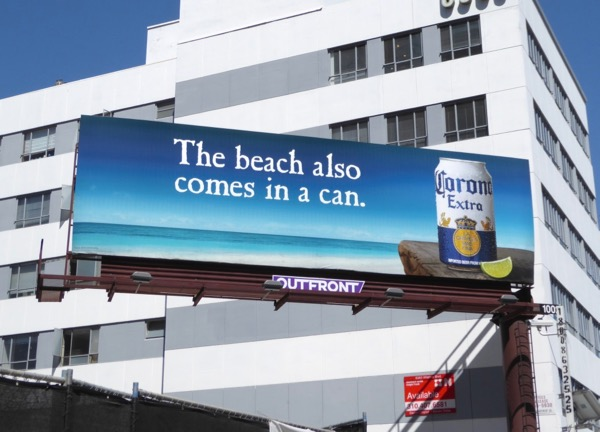 beach also comes in can Corona billboard