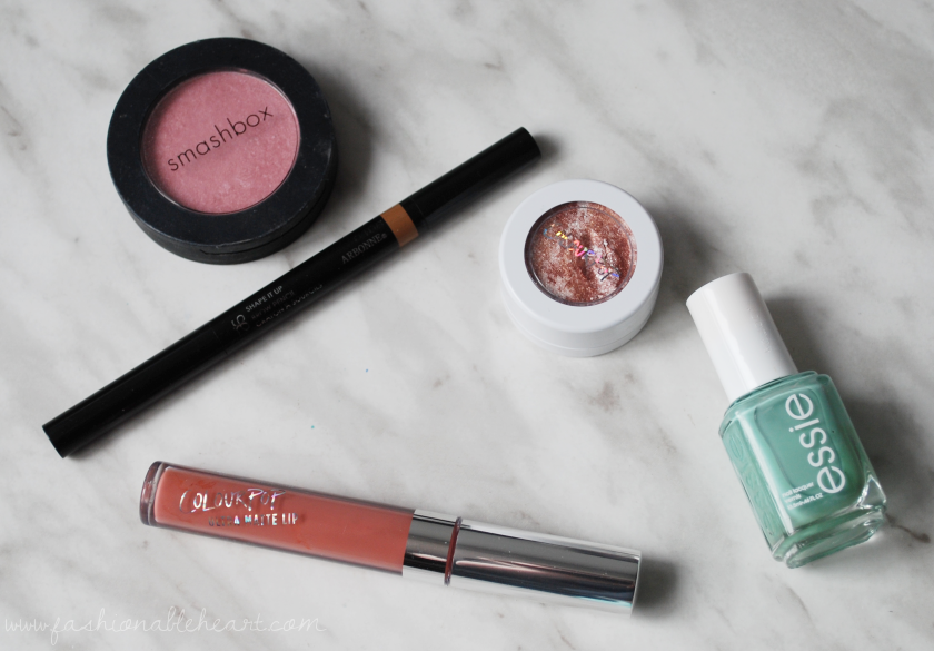 bbloggers, bbloggersca, canadian beauty bloggers, monthly favorites, smashbox blush rush, flush, arbonne, shape it up, brow pencil, colourpop cosmetics, super shock shadow, summer lovin', ultra matte lip, times square, essie, turquoise and caicos