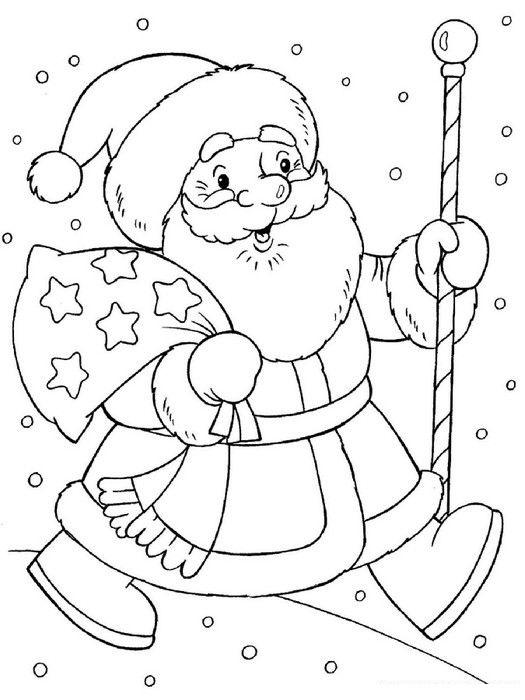 Tranh tô màu ông già Noel đi tặng quà