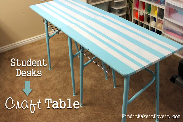 Someday Crafts Student Desks Into Craft Table