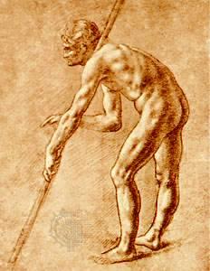 Estudio de un hombre desnudo, dibujo sepia de Leonardo da Vinci;