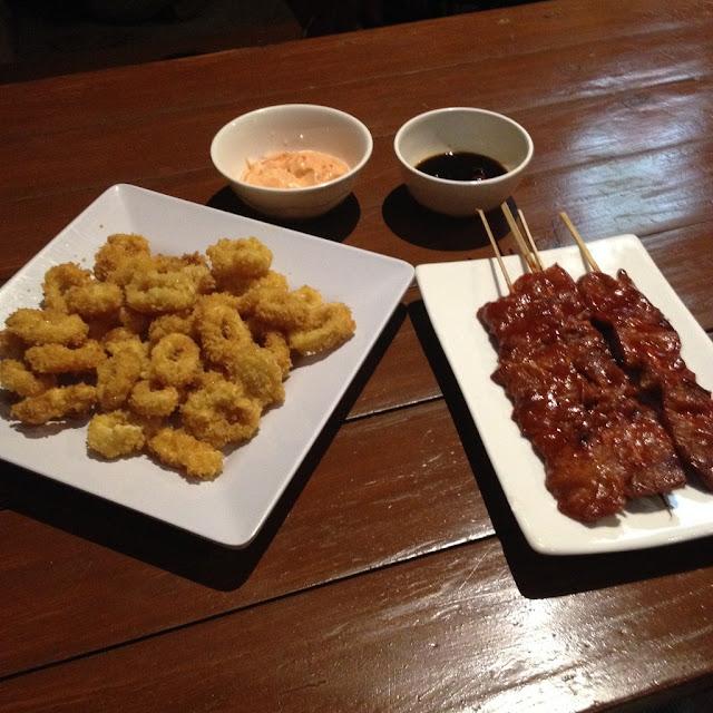 Calamari and pork barbecue at Andiana's Restaurant