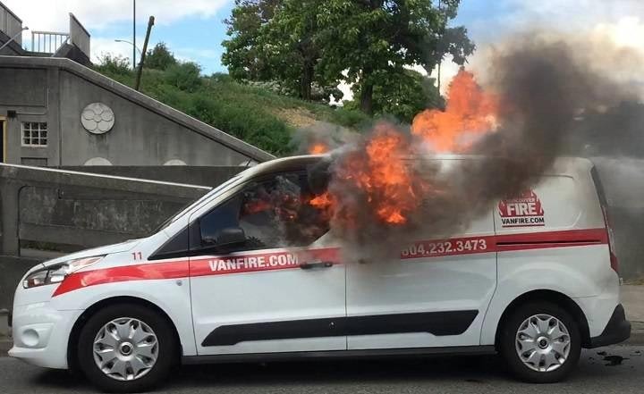 "Irony: ""Fire prevention"" car catches fire"