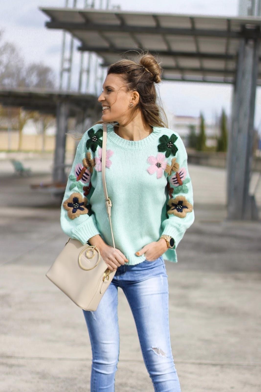 jersey bordado floral