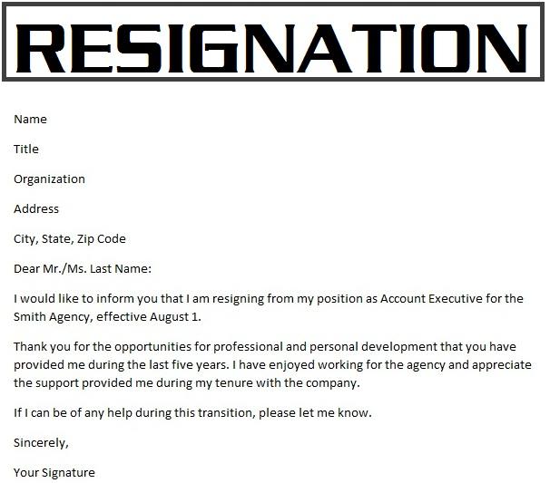 Resignation Letter Samples Download Pdf Doc Format Samples Of Resignation Letters