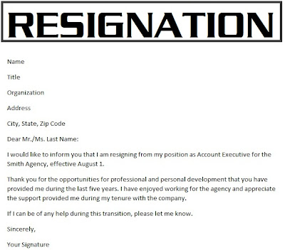 Resignation Letter Sample Email Subject | Functional Resume ...