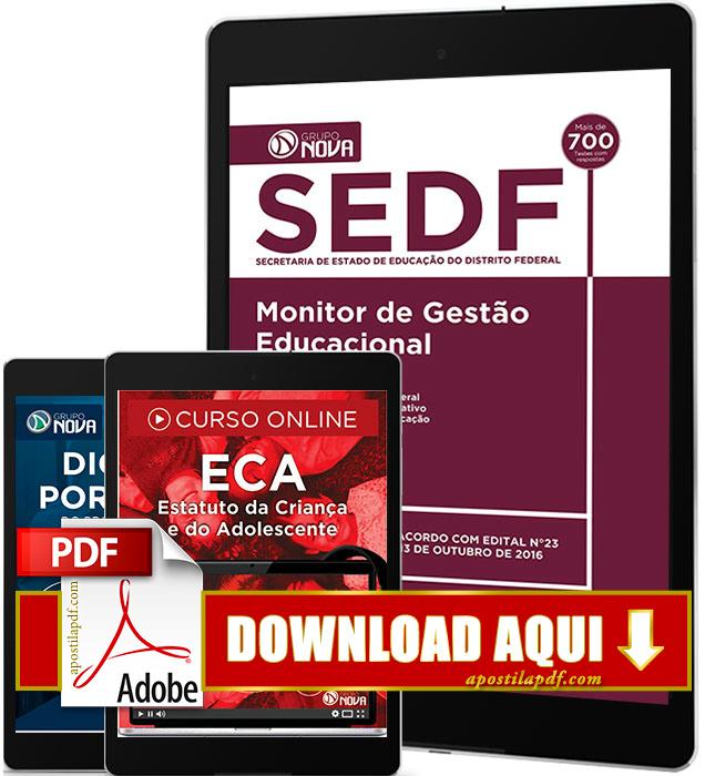 Apostila SEDF 2016 PDF Download Monitor de Gestão Educacional