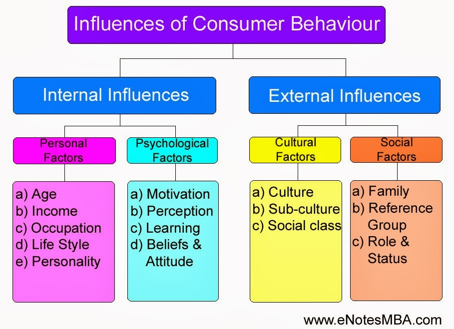 Influences of Consumer Behaviour - Internal Influences - Personal Factors, Psychological Factors; and External Influences - Cultural Factors, Social Factors