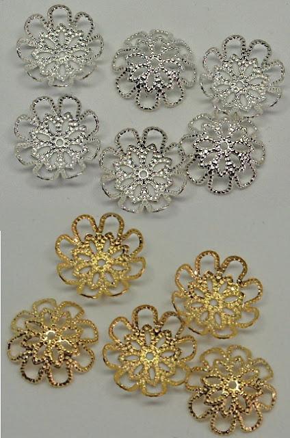 plated metal bead caps