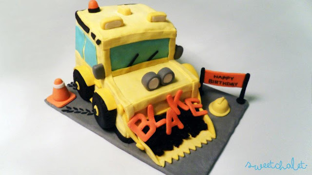 Caution! Construction Bulldozer Birthday Truck Cake Ahead