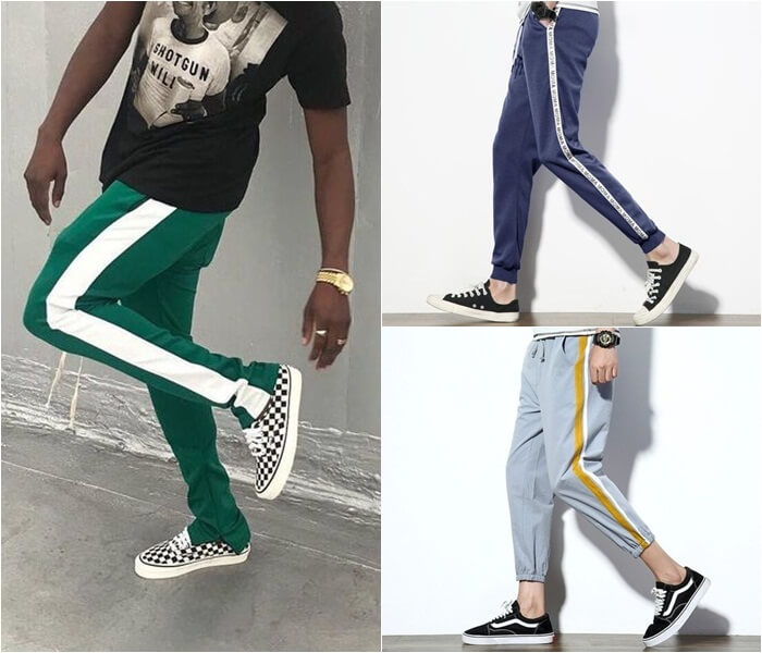 calça masculina com listra