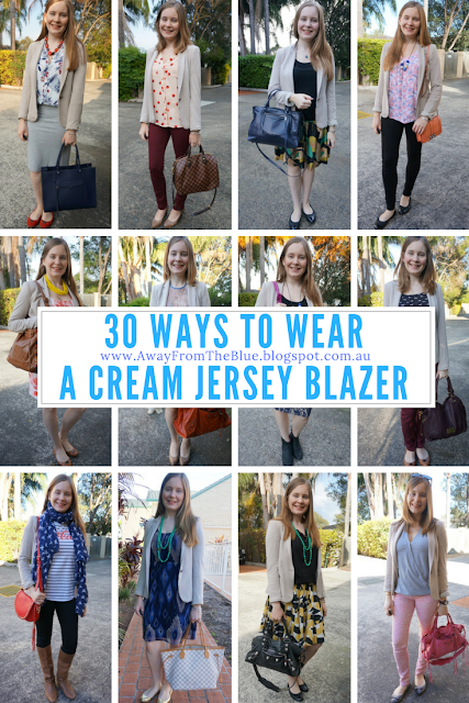 30 ways to wear zara cream jersey blazer #30wears | away from the blue blog