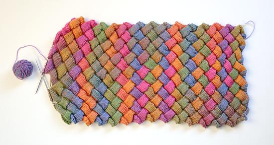 Hand Knit Entrelac Multicolored Scarf in Progress