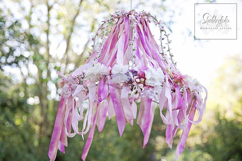 ribbon chandelier shabby chic