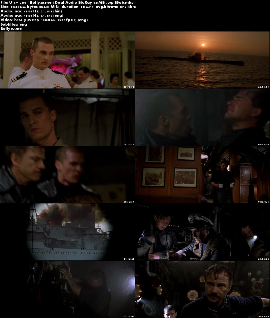 U-571 (2000) BRRip 850MB Hindi Dual Audio 720p ESub Download