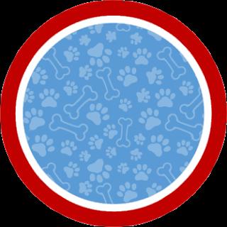 Toppers o Etiquetas de Paw Patrol en Azul y Rojo para imprimir gratis.