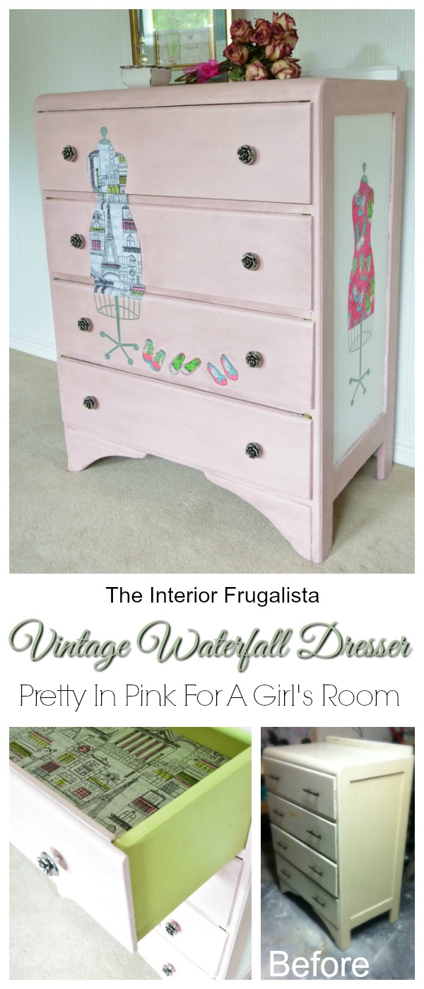 Pink Vintage Waterfall Dresser Before and After