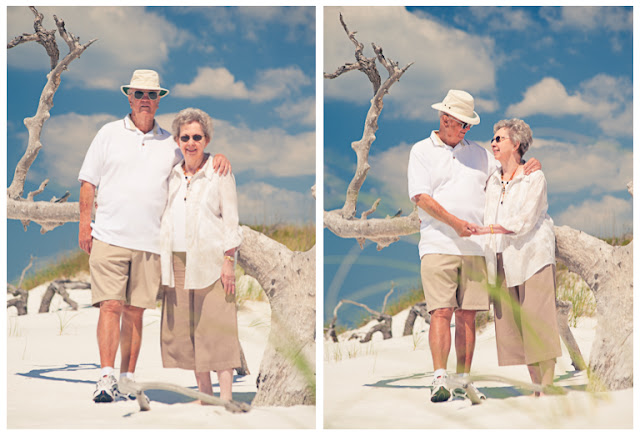 grandparents on the dunes in destin