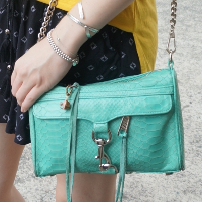 jeanswest parker printed shirred shorts, Rebecca Minkoff aquamarine python embossed mini MAC bag | awayfromtheblue