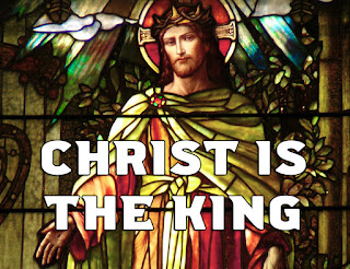 Christ the King in stained glass - with doves and a crown of thorns.   1. Christ is the King! O friends, rejoice; brothers and sisters, with one voice Let the world know he is your choice. Hallelujah, hallelujah, hallelujah! 2. Oh magnify the Lord, and raise Anthems of joy and holy praise For Christ's brave saints of ancient days. Hallelujah, hallelujah, hallelujah! 3. They with a faith forever new Followed the King, and round him drew Thousands of faithful servants true. Hallelujah, hallelujah, hallelujah! 4. O Christian women, Christian men, All the world over, seek again The way disciples followed then. Hallelujah, hallelujah, hallelujah! 5. Christ through all ages is the same: Place the same hope in his great name, With the same faith his word proclaim. Hallelujah, hallelujah, hallelujah! 6. Let love's unconquerable might Your scattered companies unite In service to the Lord of light. Hallelujah, hallelujah, hallelujah! 7. So shall God's will on earth be done, New lamps be lit, new tasks begun, And the whole church at last be one. Hallelujah, hallelujah, hallelujah!