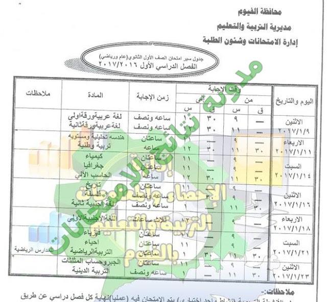 جدول امتحانات الترم الاول محافظة الفيوم 2017 للصف الاول والثانى الثانوى